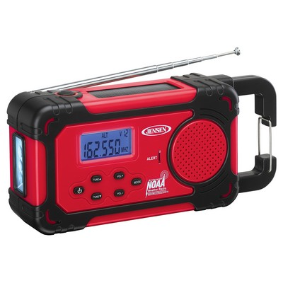 Jensen Audio AM/FM Weather Band Weather Alert Radio w/4 Way Power w/Built In Flashlight