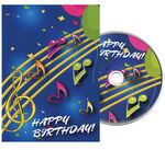 Custom Music Notes Birthday Greeting Card with Matching CD