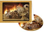 Custom Golden Fireplace Holiday Greeting Card with Matching CD