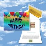 Custom Cloud Nine Birthday Music Download Multicolor Greeting Card w/ Happy Birthday Balloons