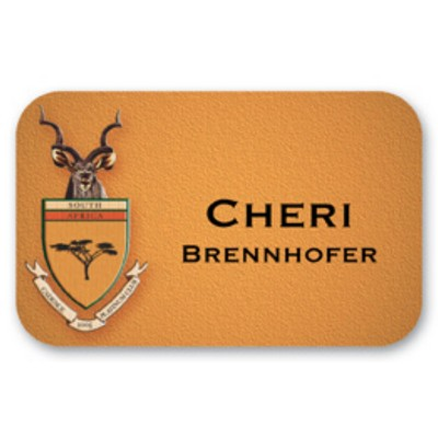 "Name Badge, Full Color w/Personalization (2.125x3.375"") Rectangle w/Rounded Corners"