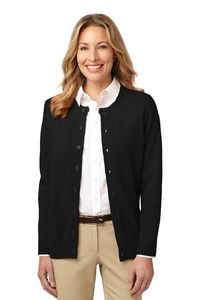 Port Authority Value Ladies Jewel Neck Cardigan Sweater