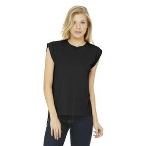 Bella+Canvas® Women's Flowy Muscle Tee Shirt w/ Rolled Cuffs