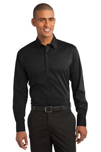 Port Authority Solid Fine Stripe Stretch Poplin Shirt