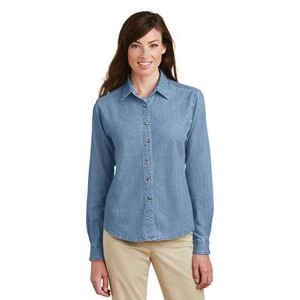Port & Company® Ladies' Long Sleeve Value Denim Shirt