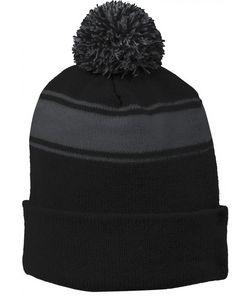 Sport-Tek Stripe Pom Pom Beanie Hat