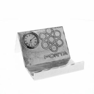Mercer Aluminum Business Card Holder w/Clock