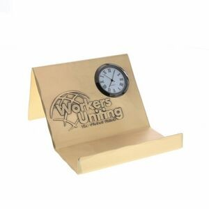 Mercer Bronze Business Card Holder w/Clock