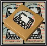 Custom Set of 4 Square Absorbent Stone Coasters in Craft Window Box - Basic Print