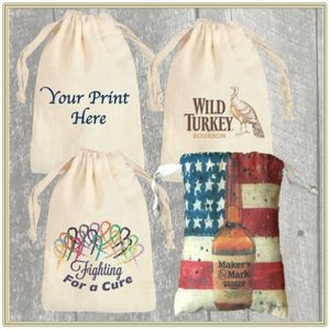 "5""x6"" Custom Printed Cotton Pouch with Drawstring"