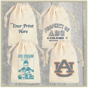"4""x 6"" Custom Printed Cotton Pouch with Drawstring"