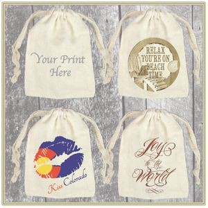 "3""x 4"" Custom Printed Cotton Pouch with Drawstring"