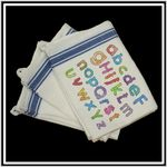 Custom Vintage Stripped Kitchen Towel - Blue Stripe