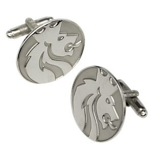 "3/4"" Cufflinks, Custom Shape - Sandblast & Polished"