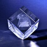 Custom Crystal Desktop Award -Cube with Corner Cut (2