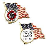 Custom American Flag Lapel Pin w/ Custom Logo
