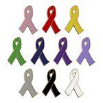 Custom Stock Shape Awareness Ribbon Lapel Pin - 2-Dimensional Design