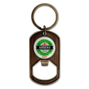 Dog Tag Keychain Bottle Opener w/Full Color Imprint