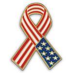Custom American Flag Ribbon - Patriotic Lapel Pins