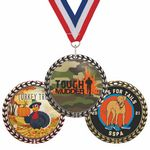Custom Die Cast Medal w/ Wreath Border - Full Color Imprint - 6 Day Production