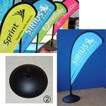 Custom Desk Bow Wing Flag Large Eco Single Reverse Black Plastic Weighted Base