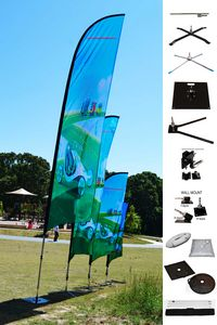 6 BLADE Wing Flag KIT, Double Sided Print