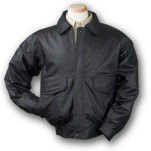 Men's Buffed Leather Bomber Jacket (Black)