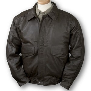 Men's Buffed Leather Bomber Jacket (Brown)