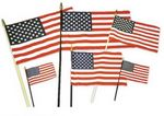 Custom Cotton Miniature USA Flag on Natural Wood Staff - 12