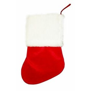 Red Plush Christmas Stocking 14""
