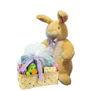 3' Tall Deluxe Baxter the Bunny plush w/Basket of Toys