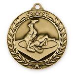 Custom 1 3/4'' Wrestling Wreath Award Medal (G)