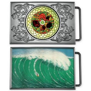 Express Vibraprint™ Rectangle Belt Buckle Medallion