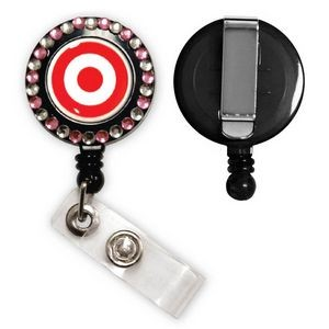 Express Vibraprint™ Badge Reel w/ Rhinestones & Belt Clip