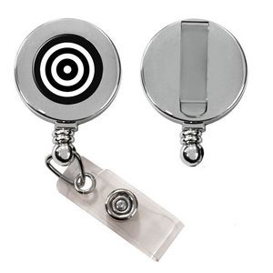 Express Vibraprint™ Silver Badge Reel with Belt Clip