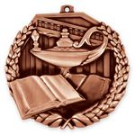 Custom 2 1/2'' Book And Lamp Medal (B