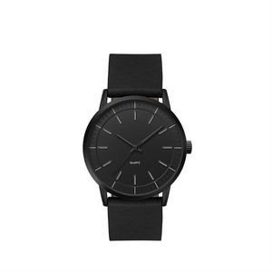 Men's Tone on Tone Slim Watch Black Metal Case with Black Dial