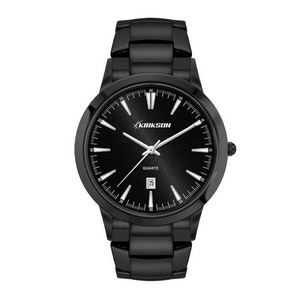 Men's Black Case Watch Men's Black Stainless Steel Case, Black Sunray Dial, and Black Stainless Stee