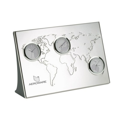 Footprint promotional products get your business noticed customized 3 time zone world clock wdebossed map gumiabroncs Gallery