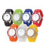 Custom Watch Creations Unisex Watch w/ Rubber Strap & Colored Rotating Bezel