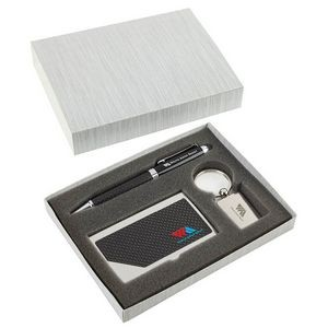 Carbon Fiber Pen, Business Card Case and Chrome Keyring Set