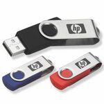 Custom Swivel USB Flash Drive with Key Chain (128 MB)