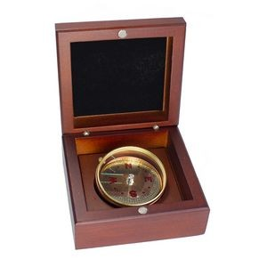Mahogany Wood Box Desk Compass