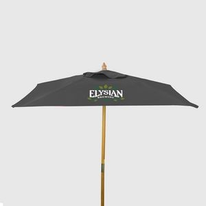 8' Square Wood Market Umbrella