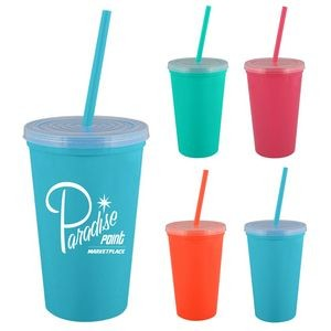 16 oz. Bolero Double Wall Insulated Tumbler - Bright Line Neon Colors