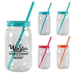 25oz. Plastic Mason Jar with Screw on Lid - Bright Line Neon Colors