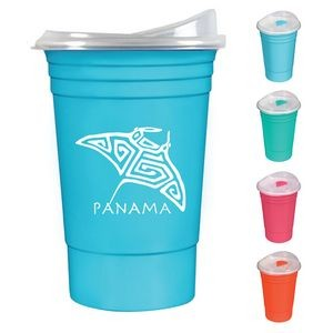 16 oz. Double Wall Insulated Coffee Tumbler with Snap-On Thumb Slide Lid - Bright Line Neon Colors
