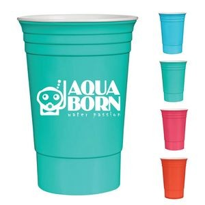 16 Oz. Reusable Double Wall Tailgate Party Cup - Bright Line Neon Colors