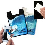 Custom 2-in-1 Silicone Phone Wallet w/ Removable Microfiber Screen Cleaner- Full Color Imprint