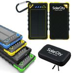 Custom 8000 mAh Dual-USB Water Resistant Solar Power Bank Battery Charger